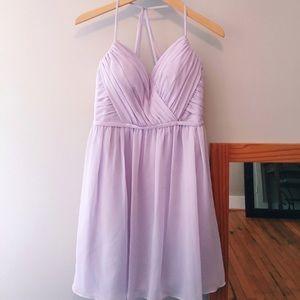 David's Bridal Lilac Strappy Back Bridesmaid Dress